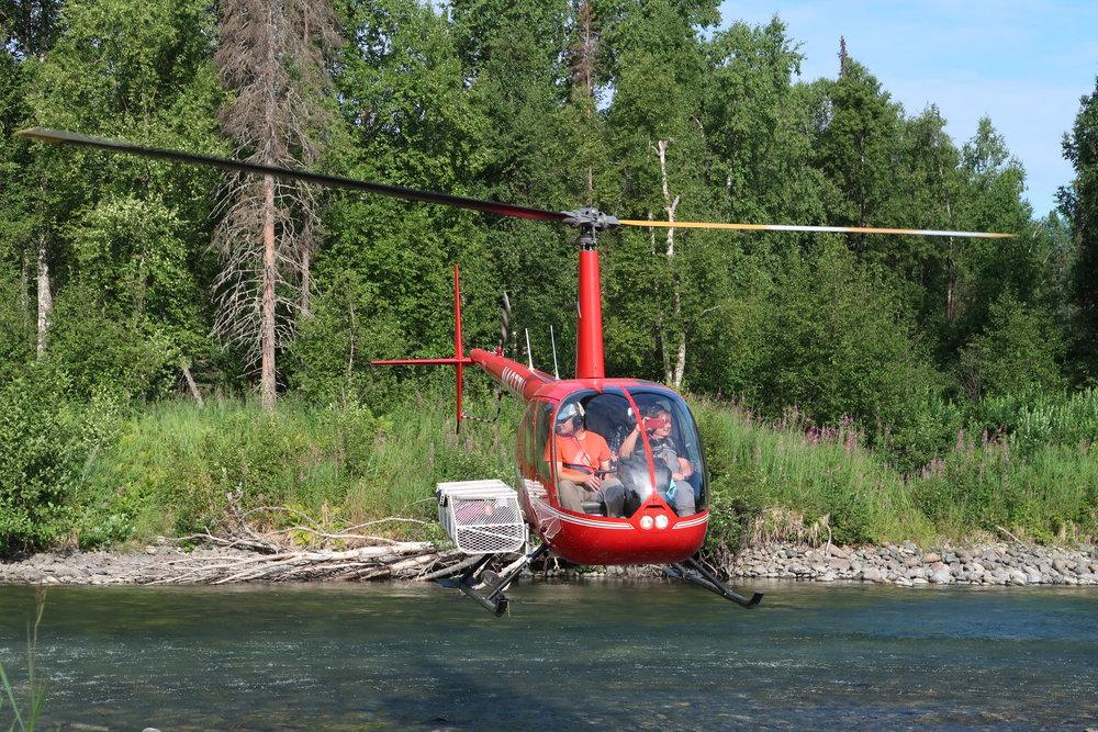 Helikoptertur til fiskeplass i Alaska